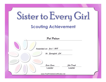 Sister Badge certificate