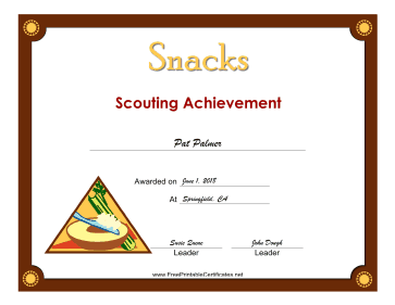 Snacks Badge certificate