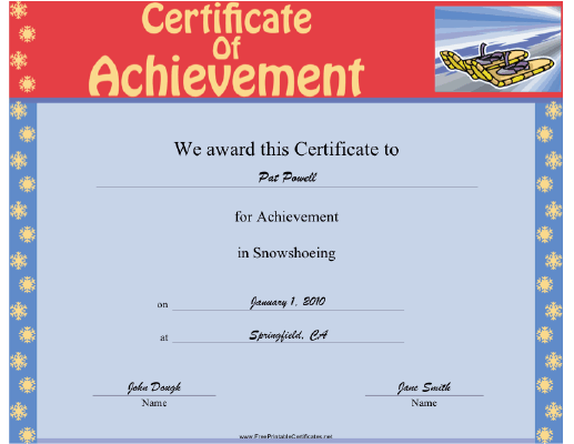 Snowshoeing certificate