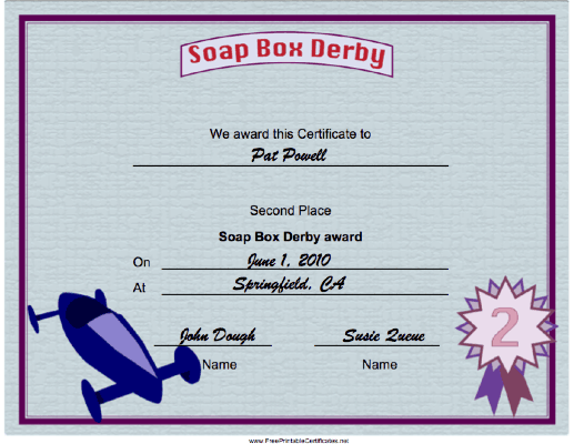 Soap Box Derby Second Place certificate