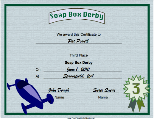 Soap Box Derby Third Place certificate
