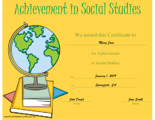 Achievement in Social Studies certificate