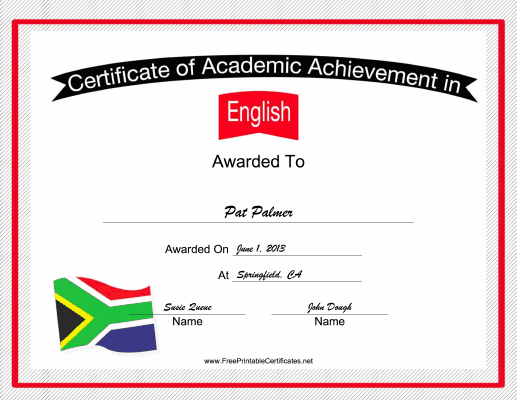 South Africa English Language certificate