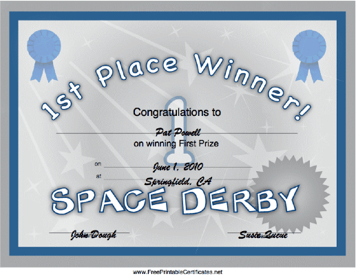 Space Derby 1st Place certificate