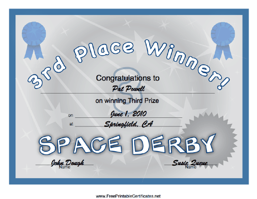 Space Derby 3rd Place certificate