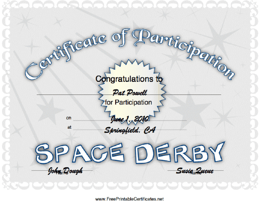 Space Derby Participation certificate