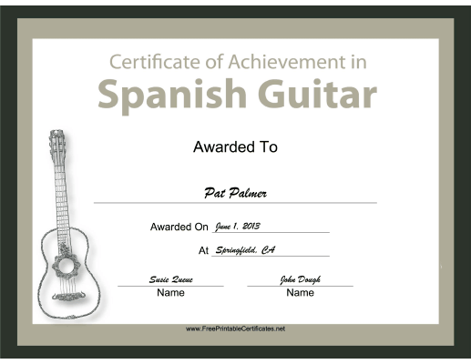 Spanish Guitar Instrumental Music certificate
