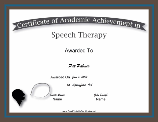 Speech Therapy Academic certificate