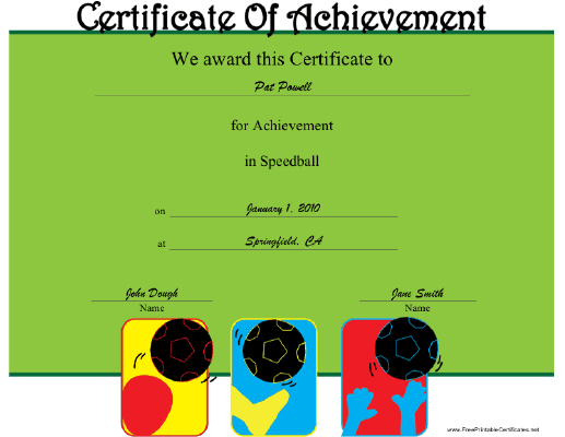 Speedball certificate