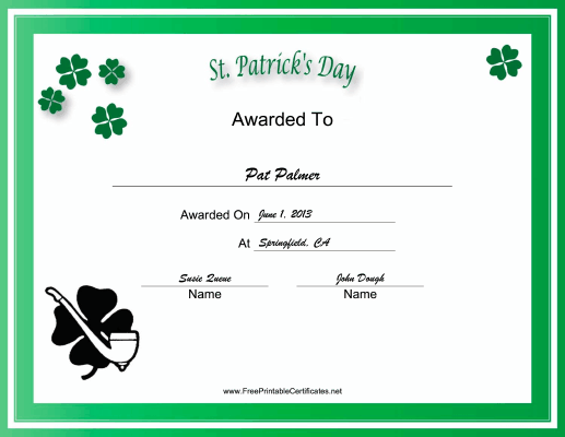 St Patricks Day Holiday certificate