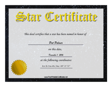 Star Adoption certificate