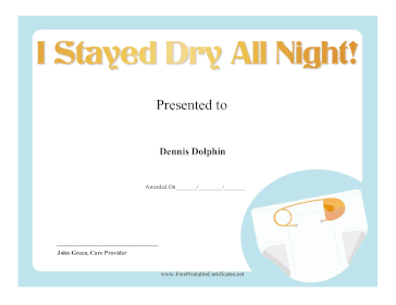 Stayed Dry All Night certificate