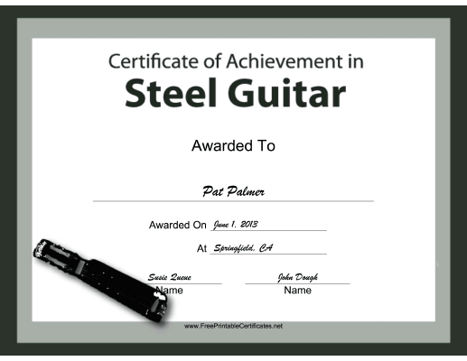 Steel Guitar Instrumental Music certificate