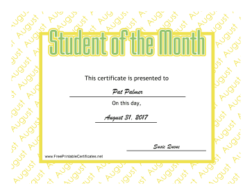 Student Of The Month August certificate