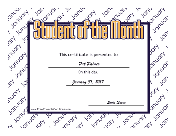 Student Of The Month January certificate