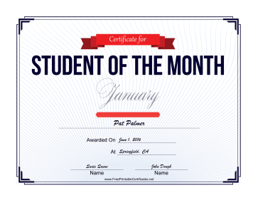 Student of the Month Certificate for January certificate