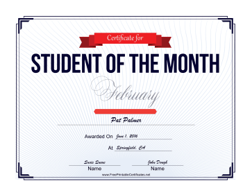 Student of the Month Certificate for February certificate