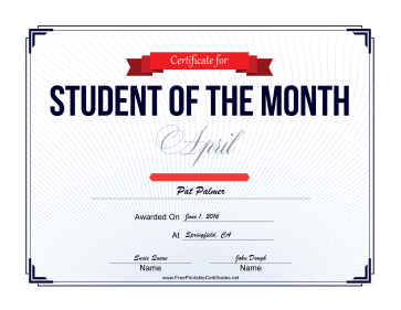 Student of the Month Certificate for April certificate