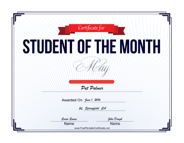 Student of the Month Certificate for May certificate