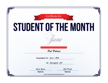 Student of the Month Certificate for June certificate