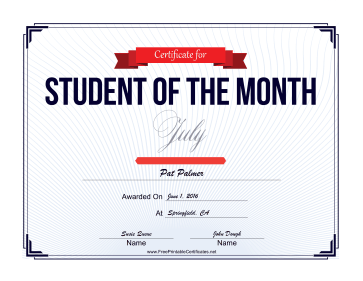 Student of the Month Certificate for July certificate