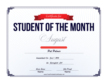 Student of the Month Certificate for August certificate