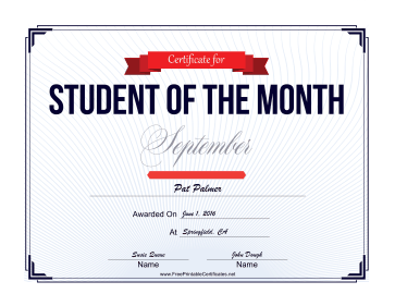 Student of the Month Certificate for September certificate