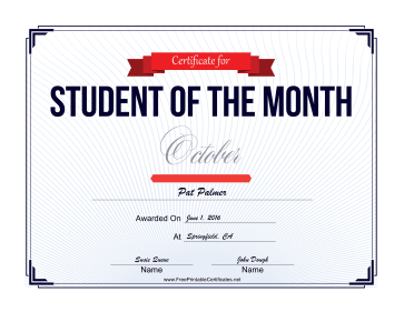 Student of the Month Certificate for October certificate