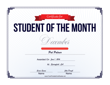 Student of the Month Certificate for December certificate