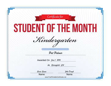 Student of the Month Certificate for Kindergarten certificate
