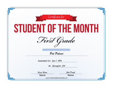 Student of the Month Certificate for First Grade certificate