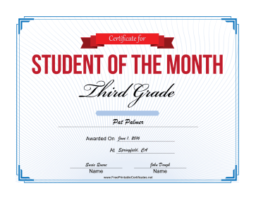 Student of the Month Certificate for Third Grade certificate