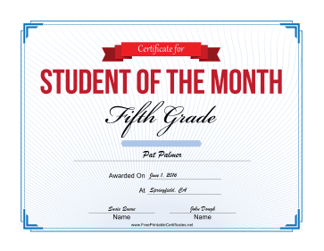 Student of the Month Certificate for Fifth Grade certificate