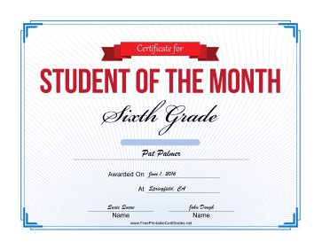 Student of the Month Certificate for Sixth Grade certificate