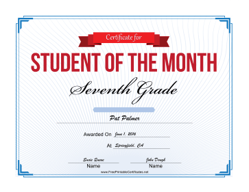 Student of the Month Certificate for Seventh Grade certificate