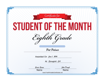 Student of the Month Certificate for Eighth Grade certificate