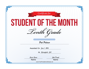 Student of the Month Certificate for Tenth Grade certificate