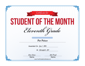 Student of the Month Certificate for Eleventh Grade certificate