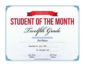 Student of the Month Certificate for Twelfth Grade certificate