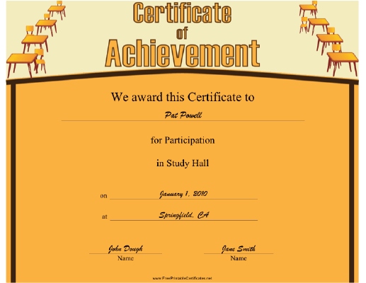 Study Hall Participation certificate
