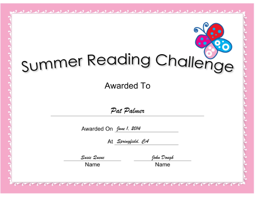 Summer Reading Challenge Pink certificate