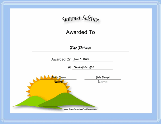 Summer Solstice Holiday certificate