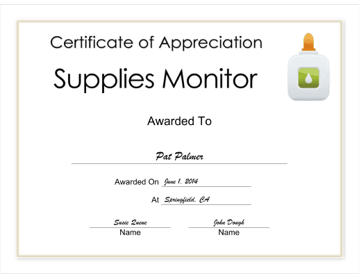 Supplies Monitor Appreciation certificate
