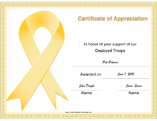 Support Deployed Troops Ribbon certificate