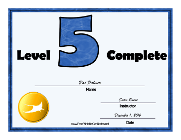Swimming Lessons Level Five certificate