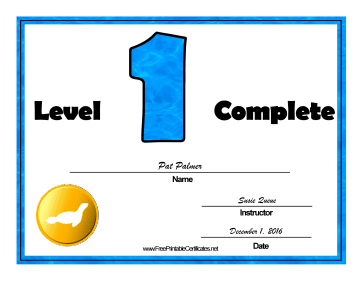 Swimming Lessons Level One certificate