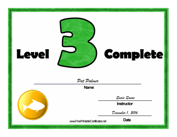 Swimming Lessons Level Three certificate