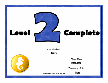 Swimming Lessons Level Two certificate
