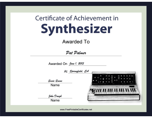 Synthesizer Instrumental Music certificate