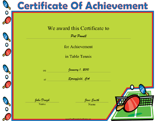 Table Tennis certificate